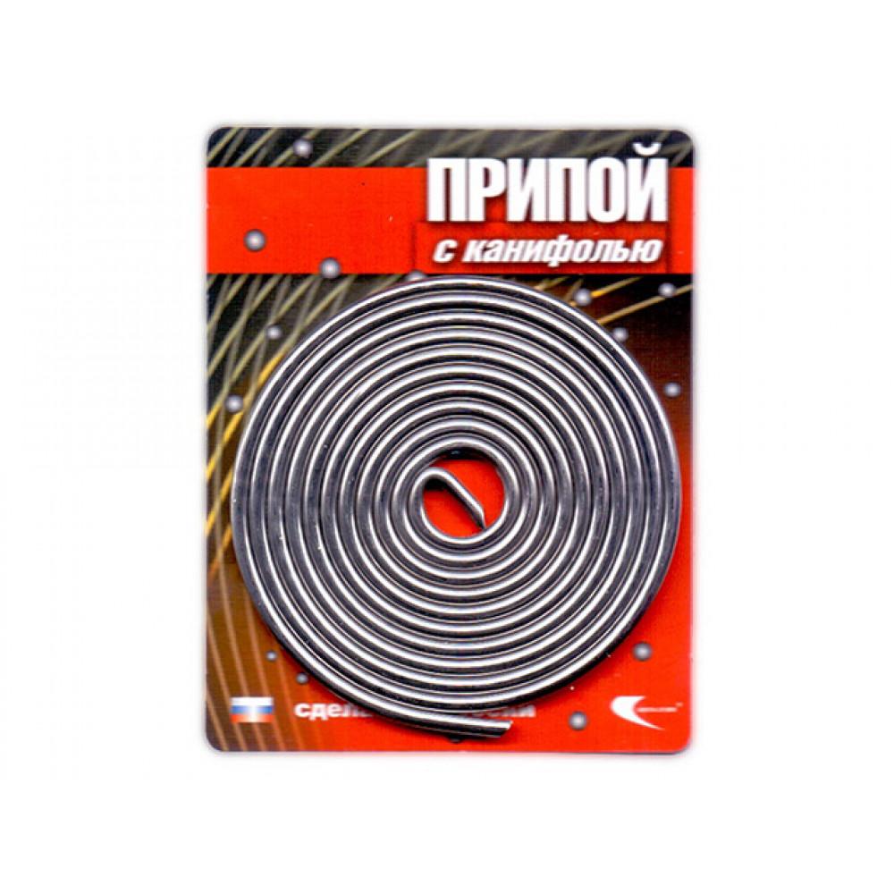 Припой ПОС 61 трубка, спираль ф2мм, с канифолью (длина 1м) (Векта) (30262)